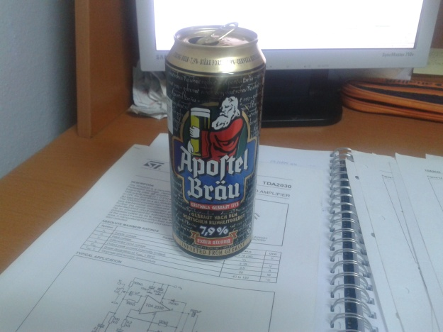 Apostel strong beer on my desk!